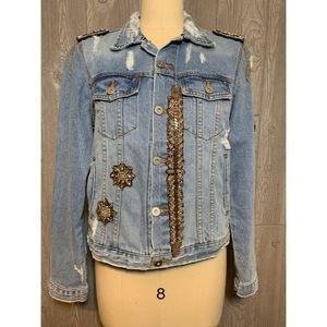 LOLA Distressed & Embellished Denim Jacket L